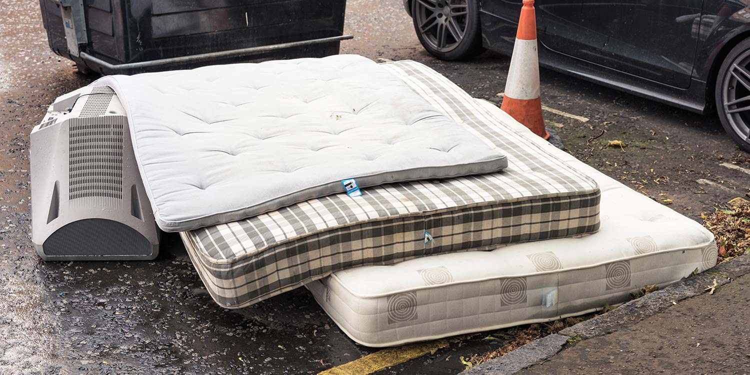 Used mattresses brought out to be disposed of