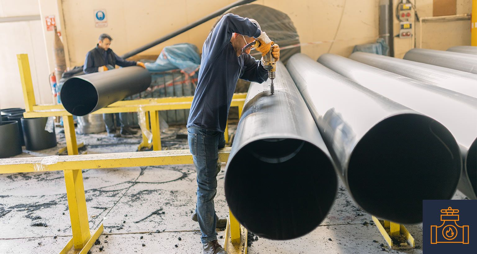 drilling into large steel pipes