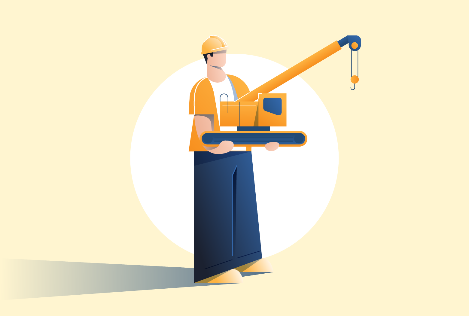 construction worker holding small crane
